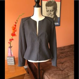 CALVIN KLEIN charcoal gray fitted short blazer